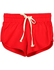 V-SOL Por Estar En Casa Deporte Yoga Running Pantalones Cortos Pants Shorts De Mujer Algodón (Rojo, S)