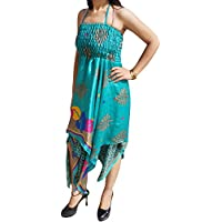 Freya Women Halter Dress Handkercheif Hem Recycled Sari Two Layered Holiday Sundresses S/M (Teal Blue)