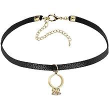 Gnzoe Joyería Mujeres Choker Collar Ajustable Cuero O-Anillo Corona ángel Forma Colgante Gótico Collar Oro Negro 32+7.5 CM
