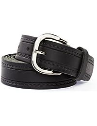 Shenky - Cinturón unisex de cuero auténtico - 3 cm de ancho - Para cinturas de 90 a 150 cm - Varios modelos