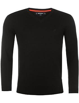 Kangol Hombre Jersey Suéter Cuello Pico De Punto Fino