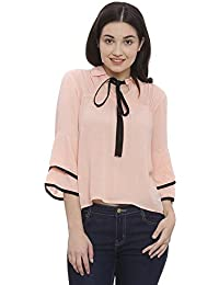 The Dry State Women's Baby Pink Rayon Crepe Bow-Tied Top