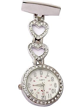 GORBEN Silber Kristall Herz Sanitäter Tunika Brosche Wechselrahmen Krankenschwester Taschenuhren mit Tasche