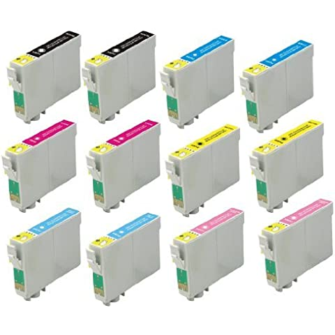 Virtual Outlet ??? 12 Pack Remanufactured Inkjet Cartridges for Epson T048 #48, T048120 T048220 T048320 T048420 T048520 T048620 Compatible with Epson Stylus Photo R300, Stylus Photo R300M, Stylus Photo RX500, Stylus Photo R200, Stylus Photo RX600, Stylus Photo R220, Stylus Photo R320, Stylus Photo R340, Stylus Photo R500, Stylus Photo R600, Stylus Photo RX620 (2 Black, 2 Cyan, 2 Magenta, 2 Yellow, 2 Light Cyan, 2 Light Magenta) by Virtual