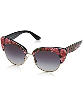 Dolce & Gabbana 0DG4277, Gafas de Sol para Mujer, Multicolor (Print Rose On Black), 52