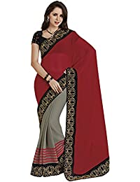 Subhash Sarees Chiffon Saree (Sh-4420_Grey|Red)