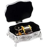 Preisvergleich für Baoblaze Legierung Musik-Box Hand-Spieluhr Kreative Holz Handwerk Beste Geschenke Silber
