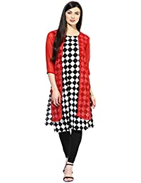 Spadille Women's Black And Red Cotton Kurti