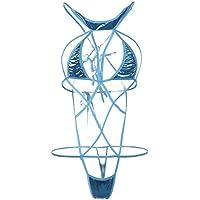 JASNO Señoras Vendaje Lencería Set Ropa Interior Cuero Transparente Body,Blue