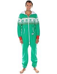 Pijama navideno verde de cuerpo entero. Estampado de grecas alpinas. De Tipsy Elves.