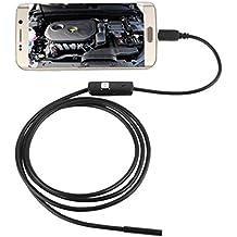 7mm Endoscopio Boroscopio Cámara Tubo de Inspección Impermeable para Android Teléfono con USB 6 LEDs 2m Largo