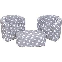Mobilier pour enfants 2 fauteuils et un pouf Ensemble de pépinière pliable pour la chambre d'enfants