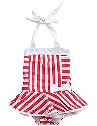 Velour Shoppe Kids Girls Swim 1 Piece Bikini Suit Halter Neck Red & White Stripes Cartoon Print (Swimming Costume Swimwear & Beach Wear)
