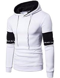 Sudadera con capucha de los hombres, Morwind manga larga suéter carta sudadera con capucha patchwork Top Tee Ropa blanca y negro blusa