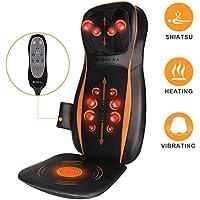 Shiatsu Massage du Dos Coussin Siège de Massage avec Chauffant & 12 Billes Roulantes, Fauteuil Massant avec 3D Tissus Profonds & Vibrant pour Nuque Dos Fesses Soulagement des Douleurs