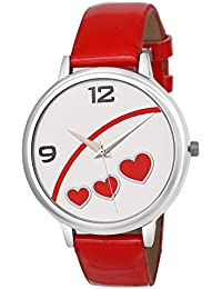 Matrix White Dial & Red Leather Strap Analog Watch For Women's/Girls- (WN-37)