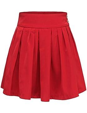 Byqny Mujeres Retro Falda Plisada Básica Cintura Alta Ajuste Delgado Patinador Multifuncional Minifalda Falda...