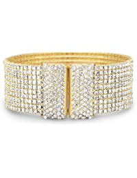 Gold Tone 10 Row Crystal Flex Cuff Fashion Bracelet 20mm Wide Fashion Jewelry Contain Base Metal