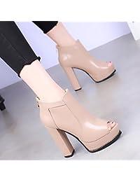 KHSKX Primavera Y El Otoño Nuevos Zapatos De Tacon Alto 11.5Cm Botas Con  Grueso Impermeable 66f93c40a3f6