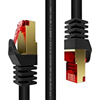 Duronic BK 20m Network Cable CAT6a Ethernet LAN Patch Cat 6 A RJ45 Wire Gigabit FTP Gold Headed Shielded - High Speed 600MHz Premium Quality | Modem | Router | Black