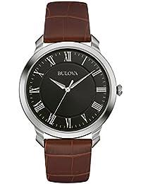 Bulova Classic 96A184 - Montre-bracelet de créateur pour homme - élégante - bracelet en cuir - marron/noir