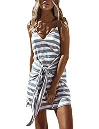 Lolittas 2018 Newest Summer Mini Women Cami Dlip Dress,Deep V Bowtie Grey White Striped