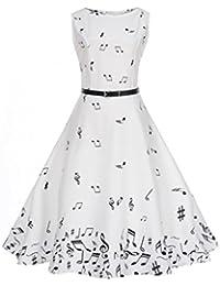 Vestidos Vintage Mujer,Gusspower Vestidos Retro De Cuello Redondo Hepburn Con Estampado Notas Musicales Vestidos
