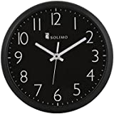 Amazon Brand - Solimo 11-inch Wall Clock (Silent Movement, Black)