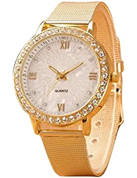 Sunnywill Classy Frauen Kristall römischen Ziffern Gold Mesh Band Armbanduhr …
