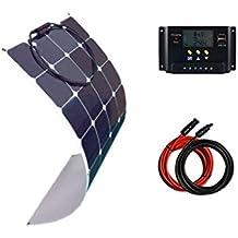 Giosolar-kit pannello solare 100W flessibile per caravan, camper, barca, 12 V, 20A, controller con display LCD