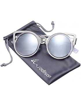 WODISON Mujeres clásicas gafas de sol de marco de metal redondo del estilo de ojo de gato para vidrios de la lente