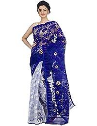 tjsarees Women's Muslin Saree (blyedhakaijamdani001 _Blue_ Free Size)