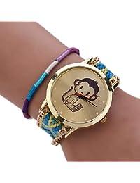 woman Bracelet Watch - SODIAL(R)woman National Wind Weave DIY little monkey Bracelet Watch 5#