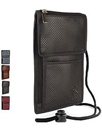 CROOZ Leatherette RFID Protected Water-Resistant Passport Holder Passport Wallet Travel Organizer Travel Sling Bag for Men and Women (Black)