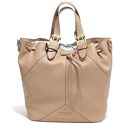 Twin Set borsa donna, linea Secchiello Cuore AS67QB, borsa a spalla in ecopelle, colore blu