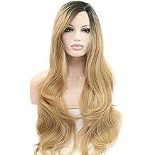 Peluca de cabello natural sin pegamento y resistente al calor para mujer, pelo de onda