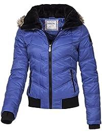 Eight2Nine Damen Winter Jacke abnehmb Kapuze mit Kunstfell gesteppt by Fresh Made blau