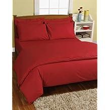 Homescapes Juego de Funda Nórdica y 1 fundas de almohada color Rojo de alta calidad 100% Algodon Egipcio de 160 x 200 cm y 80 x 80 cm