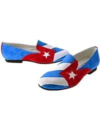 ALMA CUBANA - Mocasines de Terciopelo para Hombre Azul Azul/Blanco/Rojo