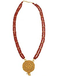 Radha's Creations Lakshmi Temple Gold Plated Traditional Antique Crystal Necklace Set For Women