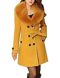 Femme Caban femme laine Double breasted Chaud Manches Longues Manteau  d hiver Mélange de laine ea981ff2360