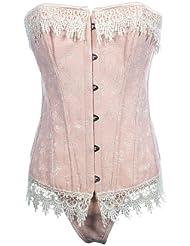 Topwedding bordure en dentelle florale désossées corset victorien avec lanière