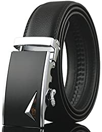 Xpassion Cinturón de Cuero para Hombre Cinturones Hebilla Automática 3,5cm Ancho