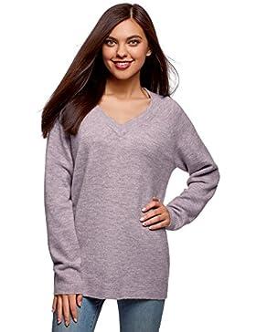 oodji Ultra Mujer Suéter Largo con Cuello Pico