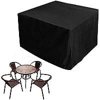 JTDEAL Fundas impermeables para mesa cuadrada, Cubre mesa jardin negro, Oxford fundas para proteger muebles de Jardín, Patio, Terraza, Interior(123 x 123 x 74CM)