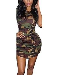 Yefree Estate Sexy delle Donne Casual Moda O-Collo Sexy Bordo Irregolare Camouflage  Mimetico Aderente 71e8573e8de