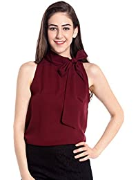 e35bf348cc6 The Bebo Maroon Sleeveless Crepe Straight Elegant Top