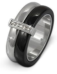 Amello Damen Edelstahl Ring Keramik Zirkonia Edelstahlschmuck ESRX02SX