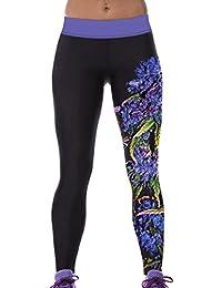 Lovelife' Women Purple Blossom Flower Printed Yoga Workout Capri Leggings
