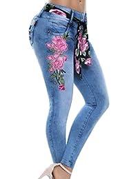 802e6172b3 laamei Printemps Automne Pantalon Rétro Fleur Brodé Jeans Taille Haute  Stretch Slim Leggings Collant pour Femme